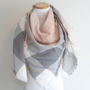 Accessories - Peach/Cream/Gray Blanket Scarf